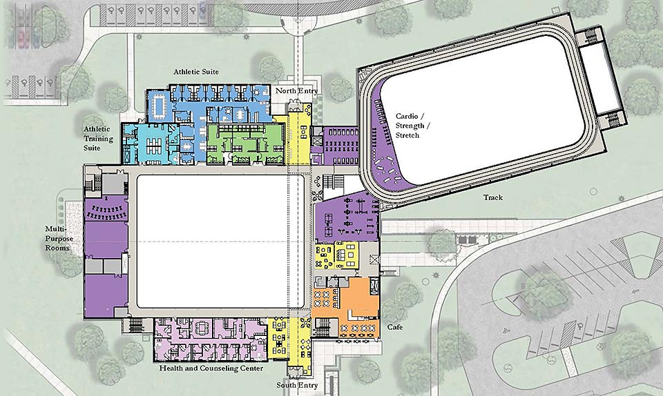 Angela Athletic center building plans for upper level, showing the addition of fitness rooms, offices, cafe, running track, workout areas, health and wellness center, and common areas