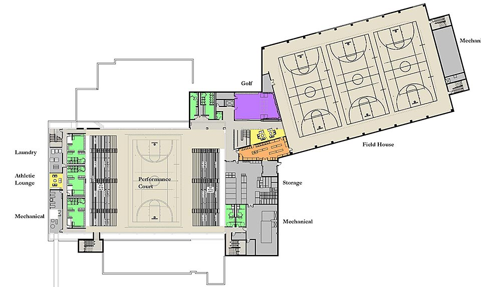 College athletic training room floor plan carpet vidalondon for How much is it to build a basketball gym