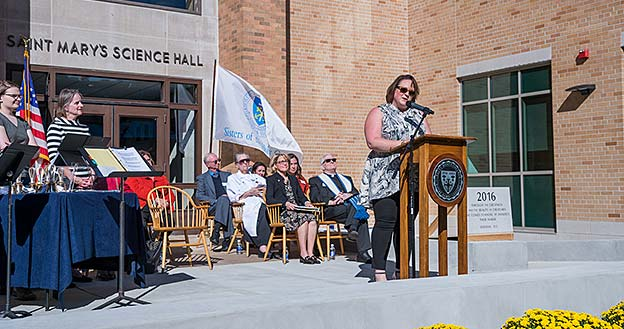 Jennifer Mathile Prikkel addresses the crowd at the Science Hall dedication