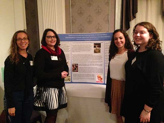 Professor Jamie Wagman, Adrienne Whisman '17, Katlynn Dee '17, and Ali Tipton '18 at the Seneca Falls Dialogue Conference in October 2016.
