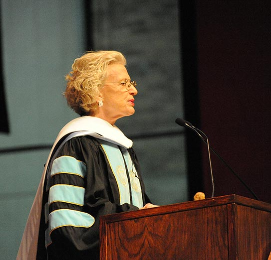 Anne M. Burke speaking at the 2017 commencement