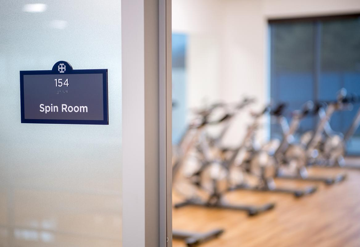 Dedicated spin class room.