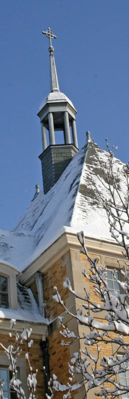 Close up of Haggar College spire
