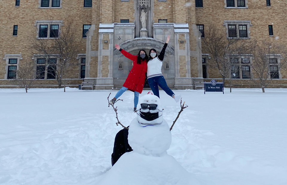 snowman and students