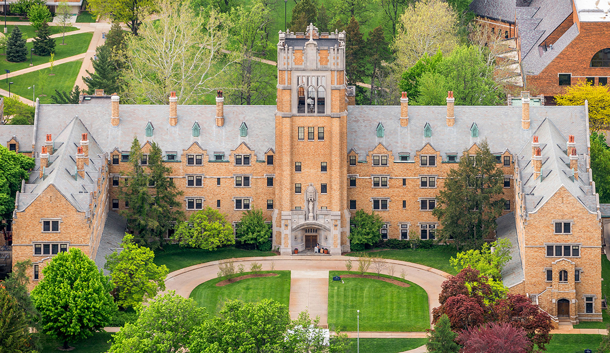 Aerial view of Le Mans Hall on the campus of Saint Mary's College