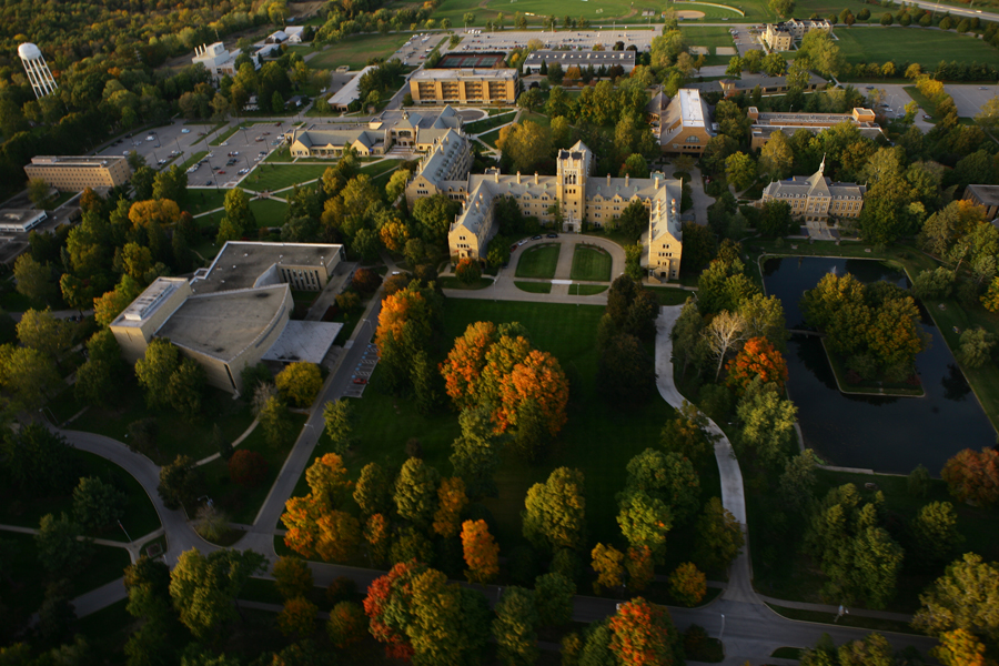 An aerial view of Saint Marys College. From left Regina Hall, Student Center, Le Mans Hall, Cushwa-Leighton Library, and Haggar College Center.