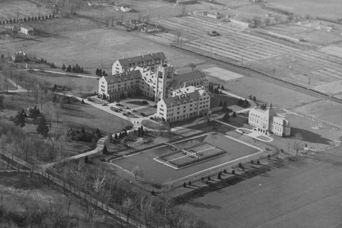 Saint Mary's College historical campus aerial shot