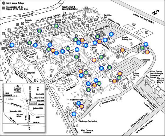 University Of Notre Dame Campus Map Campus Accessibility Map | Saint Mary's College, Notre Dame, IN