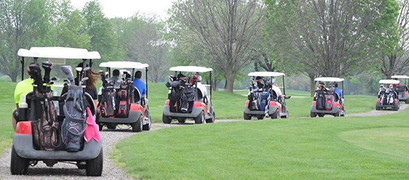a line of golf carts being driven through a golf course