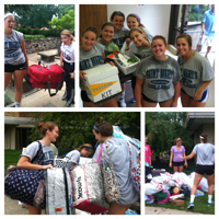 Volleyball Team helping first year students move in