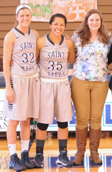 Seniors Katherine Wabler, Shanlynn Bias, and Eileen Cullina were recognized prior to today's game.
