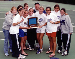 The 2001 Saint Mary's tennis team with their MIAA Championship trophy.