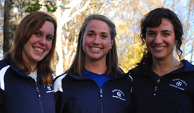 Megan Price, Katie Donovan, and Audrey Dalrymple all won individual events on Senior Day.