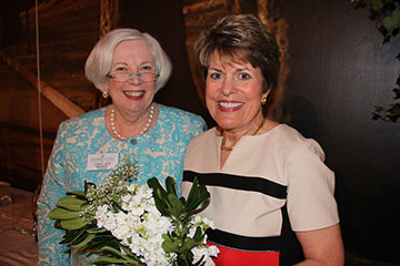 Alumna Achievement Award recipient Mary Acker Klingenberger '79, left, poses with Saint Mary's College President Carol Ann Mooney.
