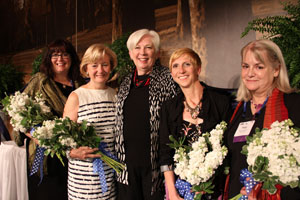 President Carol Ann Mooney '72, center, poses with the 2012 Alumnae Association Award Recipients Monahan, Freidheim, Mahoney, and Perkinson (from left to right).