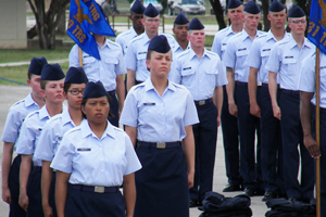 Women lined up at attention for basic military training