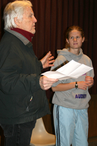 Actor Anthony Zerbe works with Audrey Marrah '10