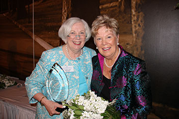 Humanitas Award recipient Mary Kay Brady Turner '64 poses with Saint Mary's College President Carol Ann Mooney.