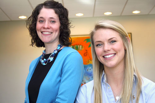 Co-valedictorians Annie Bulger '12, left, and Krystal Holtcamp '12