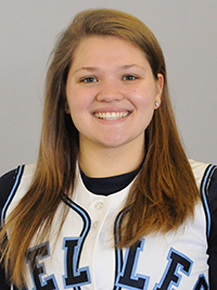 Caitlyn Migawa hit her first collegiate home run while leading the Belles with 2 RBIs.