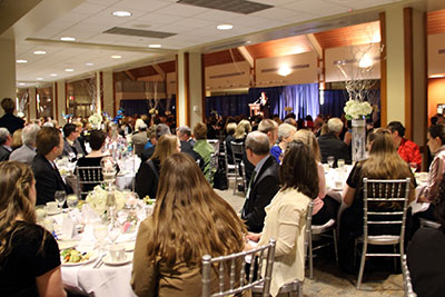"A dinner celebrating the public launch of the ""Faith Always, Action Now"" campaign was held on campus on Friday, February 22."