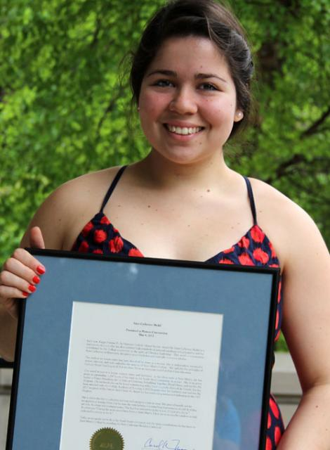 Carla Leal '13, 2012 recipient of the Saint Catherine Medal.