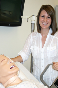 Catherine Moore with the Simulated Man in Havican Hall