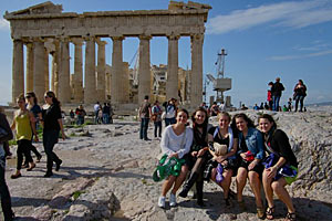Chelsea Young and some Saint Mary's friends in Athens.