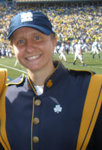 ashley crish in notre dame marching band uniform