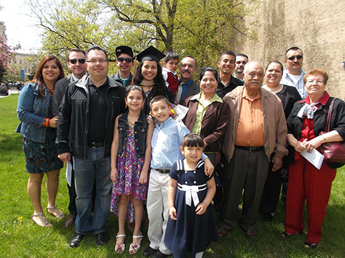 Silvia Cuevas, center, is surrounded by her proud family. She is the 2013 recipient of the Outstanding Senior Award.