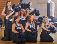 The dance team performing at a basketball game.