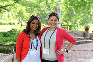 Sarita Fritzler '08 and Adriana Lopez '08 returned to Saint Mary's for Reunion Weekend in the summer of 2013.