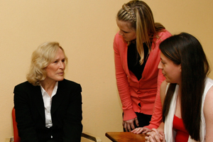 Actress Glenn Close speaks with Kara Quillard '13 and Joy Viceroy '13