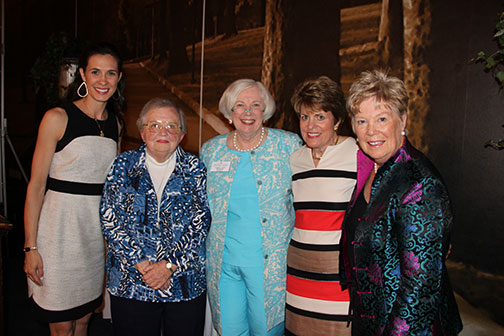 The 2014 Alumnae Association Award Recipients pictured with Saint Mary's College President Carol Ann Mooney, center. From left to right are Jill Moore Clouse '99, Ann Korb '59, Mary Acker Klingenberger '79, and Mary Kay Brady Turner '64.