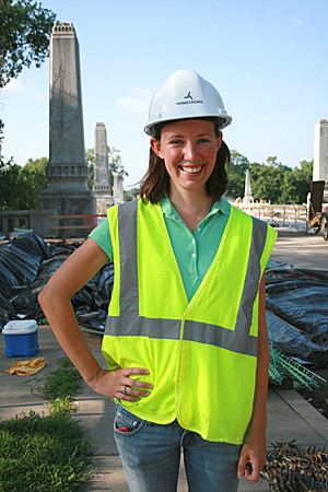 Jenny Hellyer '10 at the Twyckenham Bridge in South Bend. She is helping on the bridge rehabilitation project as part of a summer internship.