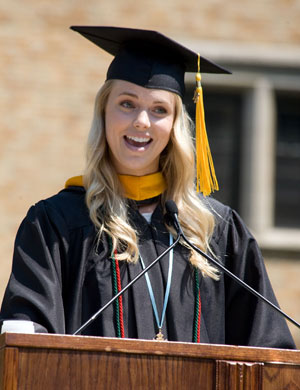 Co-valedictorian Krystal Holtkamp '12, a biology major from Marine, Ohio, offers her valedictory at Commencment.