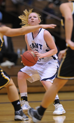 Jessica Centa looks for a shot in a game last season. The senior was 6-of-6 from the floor against Anderson.