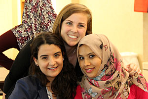 Clockwise from top: Kaitlyn Rabach, a sophomore at Saint Mary's; Sarah, a 19-year-old student from Libya; and Salwa, a 22-year-old graduate student from Tunisia. All three participated in the SUSI project this summer.