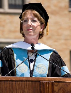 Kathleen Flynn Fox '74 offers a few words of reflection after receiving an honorary doctorate from her alma mater.