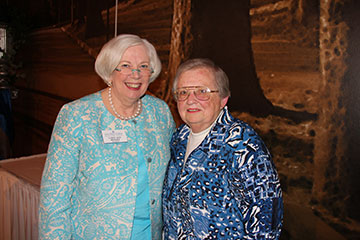 Distinguished Alumna Award recipient Ann Korb '54, left, poses with Saint Mary's College President Carol Ann Mooney.