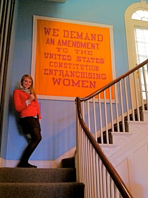 Laura poses at the Sewall-Belmont House in Washington, D.C., home of the National Women's Party.