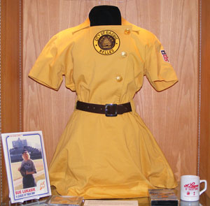 "Uniform from ""A League of Her Own,"" part of John Kovach's ""Women in Baseball"" collection."