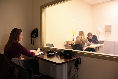 The Judd Leighton Speech and Language Clinic features  observation rooms where students, faculty, and clients'  families can observe the student-client sessions.