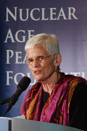 Judith Mayotte, 2014 Commencement Speaker (photo courtesy of Rick Carter/NAPF (Nuclear Age Peace Foundation)