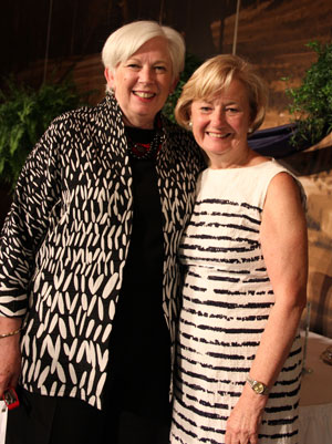 Saint Mary's College President Carol Ann Mooney '72 poses with Kitty Plunkett Freidheim '67 following the Reunion Banquet.