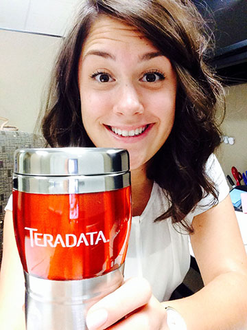 UPDATE: Sara Napierkowski started her Orr Fellow position at Teradata in June. Here she is on her first day on the job.
