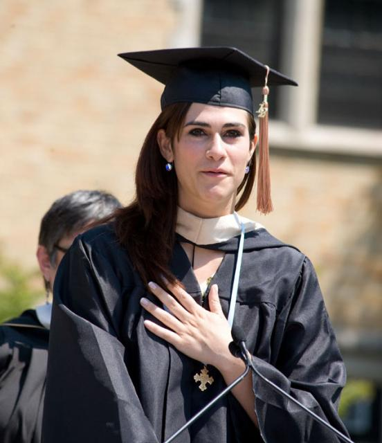 Nicole Gans '12 speaks to her fellow classmates moments after learning at Commencement that she was named the Lumen Christi Award recipient. (May 19, 2012)