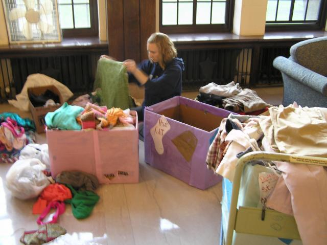 Sorting clothes from the spring '09 clothing drive