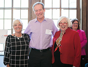 Political science professor Patrick Pierce, center, poses with Carmi Murphy, left, and Saint Mary's College President Carol Ann Mooney.