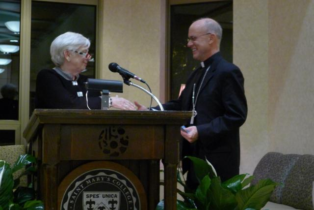 President Mooney welcoming Bishop Rhoades